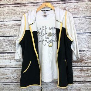 CJ Banks 2 piece Vest T-shirt set black yellow 2X